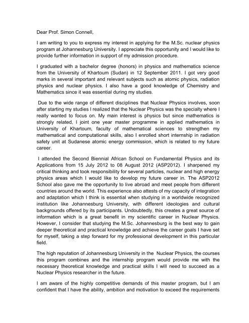 Awadallah Mekki Motivation Letter pdf - UJ Physics