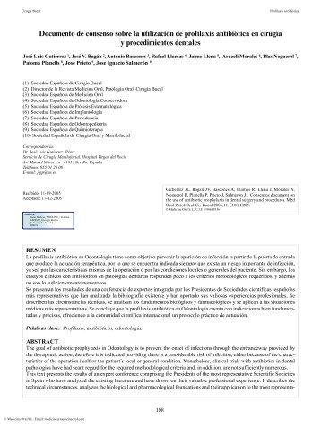 Documento de consenso sobre la utilización de profilaxis