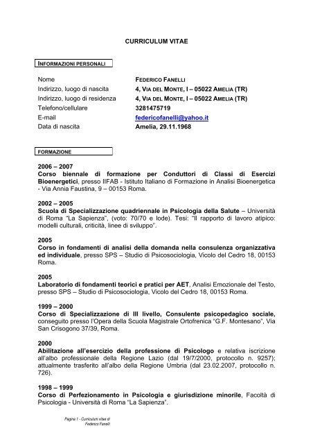 Curriculum Vitae Europeo Scuola Di Specializzazione In Psicologia