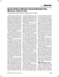 Syrian Defense Minister General Mustafa Tlas: Memoirs ... - U.S. Navy