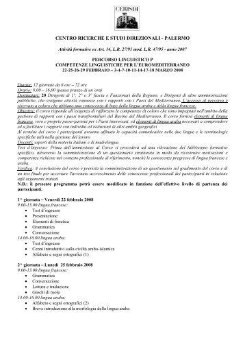 CENTRO RICERCHE E STUDI DIREZIONALI - PALERMO