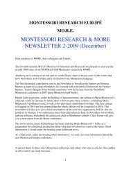 MONTESSORI RESEARCH & MORE NEWSLETTER 2-2009 ...