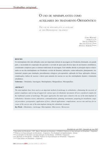 O uso de miniimplantes como auxiliares do tratamento ortodôntico