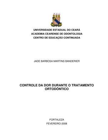 CONTROLE DA DOR DURANTE O TRATAMENTO ORTODÔNTICO