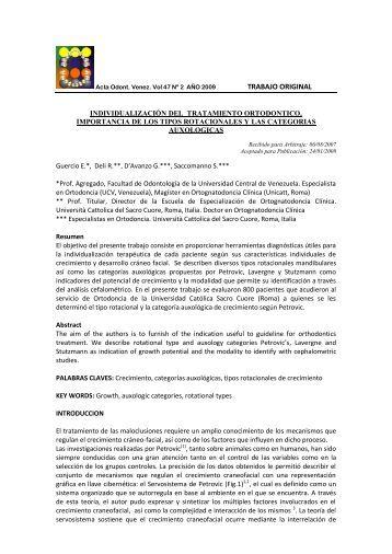 INDIVIDUALIZACION DEL TRATAMIENTO ORTODONTICO - SciELO