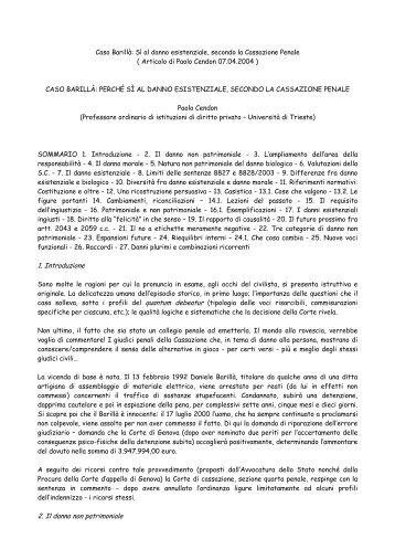 Articolo del Prof. Paolo Cendon - Franco Crisafi