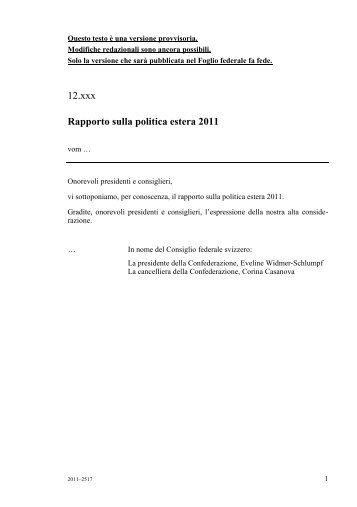 Rapporto sulla politica estera 2011 - ASNI