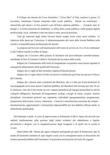 mozione del collegio dei docenti - Liceo Scientifico Ulisse Dini