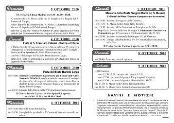 Settimana dal 3 al 9 Ottobre 2010 - Parrocchia S.Maria della Neve in ...