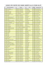 elenco dei centri che hanno aderito allo studio blitz - Anmco