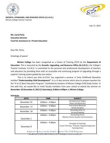 Invitation for K to 12 Training of Grade 1 Teachers