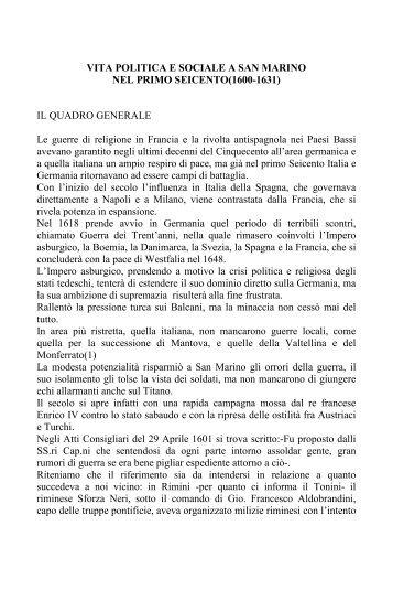 VITA POLITICA E SOCIALE A SAN MARINO NEL PRIMO ...