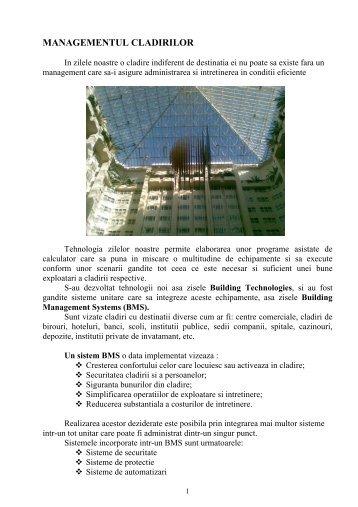 MANAGEMENTUL CLADIRILOR - ElectroArt.ro