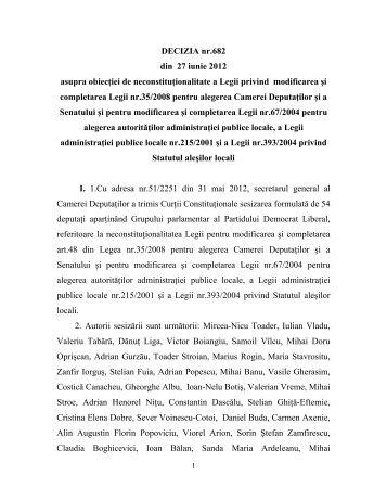 23. Decizia nr. 682 din data de 27.06.2012 - Curtea Constituţională ...