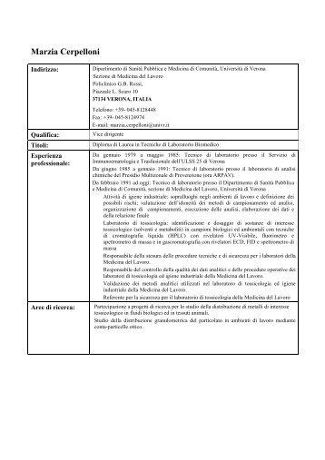 CURRICULUM (pdf, it, 17 KB, 10/22/12) - Sanità Pubblica e ...
