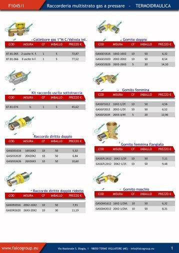 F1045/I Raccorderia multistrato gas a pressare ... - Falco Group
