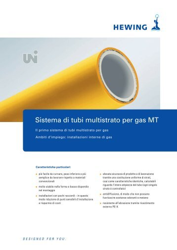 Sistema di tubi multistrato per gas MT - Hewing GmbH