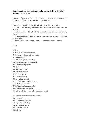 Doporučení pro diagnostiku a léčbu chronického srdečního selhání ...