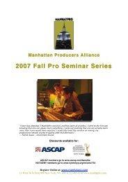 2007 Fall Pro Seminar Series 2007 Fall Pro Seminar Series