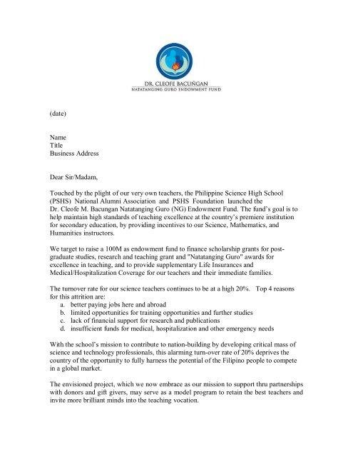 ng solicitation letter templatepdf pshsnaa public