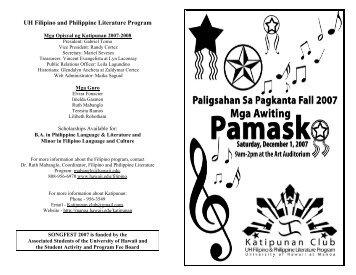 UH Filipino and Philippine Literature Program - University of Hawaii ...