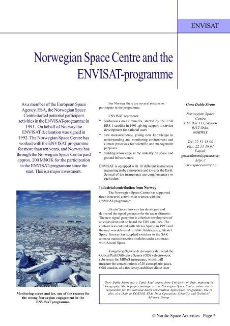 Norwegian Space Centre and the ENVISAT ... - Nordicspace.net