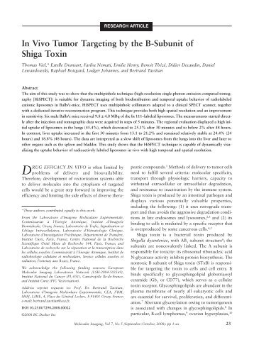 In Vivo Tumor Targeting by the B-Subunit of Shiga Toxin - Pages ...