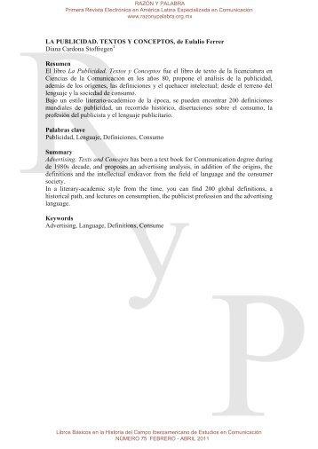 LA PUBLICIDAD. TEXTOS Y CONCEPTOS, de ... - Razón y Palabra