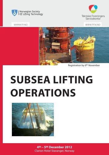 subsea lifting operations - Tekniske Foreningers Servicekontor AS
