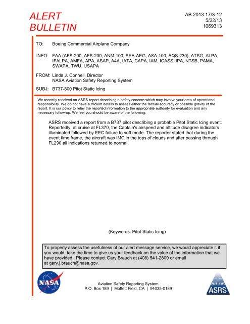 B737-800 Pitot Static Icing - AMFA