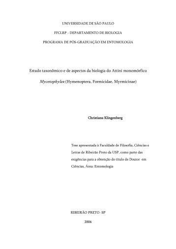 Estudo taxonômico e de aspectos da biologia do Attini ... - ffclrp - USP