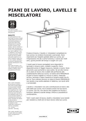 PIAnI LAvoro, LAveLLI e mIsceLATorI - Ikea