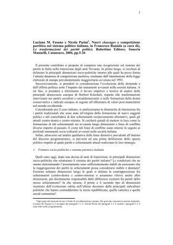 Nuovi cleavages e competizione partitica nel sistema politico italiano
