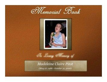 Memorial Book - Madeleine Claire Pitot