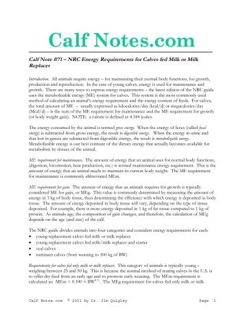 NRC Energy Requirements for Calves fed Milk or ... - Calf Notes.com