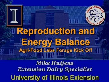 Reproduction and Energy Balance - Agri-Food Laboratories