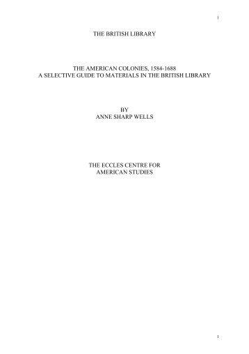 COLONIAL PERIOD, CA. 1590-1690: - British Library