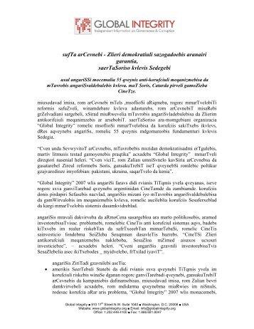 sufTa arCevnebi - Zlieri demokratiuli sazogadoebis ... - Global Integrity