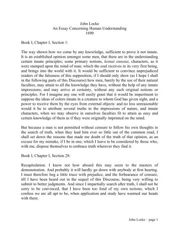 Essay Vs Paper John Locke An Essay Concerning Human Understanding   What Is The Thesis Of An Essay also English Essay Book Essay Concerning Human Understanding By John Locke  Ship Personal Narrative Essay Examples High School