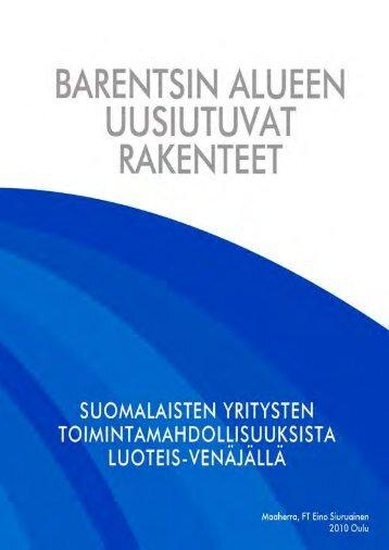 Barentsin alueen uusiutuvat rakenteet - Työ- ja elinkeinoministeriö