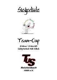 Siegerliste Einzel Team-Cup 2009 - TuS Reichenbach 1908 eV