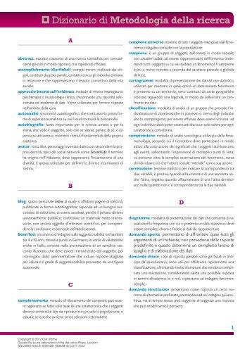Dizionario di Metodologia della ricerca - Clitt