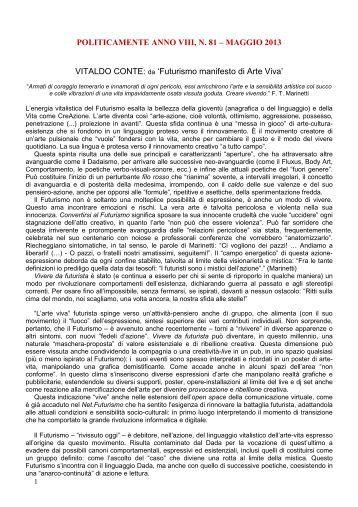Futurismo manifesto di Arte Viva - PoliticaMente