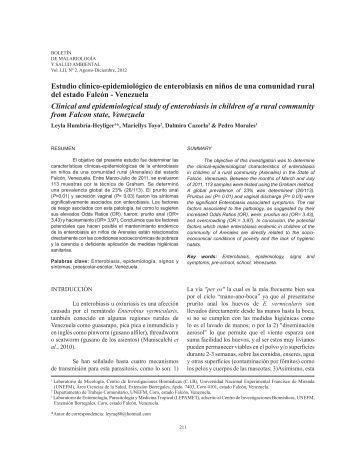Estudio clínico-epidemiológico de enterobiasis en niños ... - SciELO