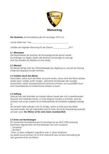 Mietvertrag Tennisheim - TuS Sennelager