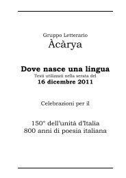 Dove nasce una lingua - Gruppo Letterario Àcàrya
