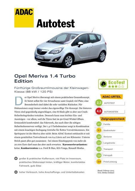 umfassender test opel meriva 1.4 turbo edition - adac