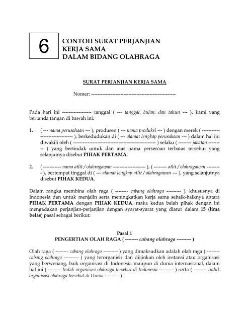 Contoh Surat Perjanjian Kerja Sama Dalam Bidang Olahraga