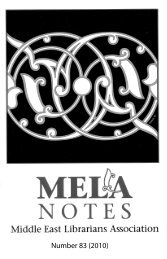 MELA Notes number 83 (2010) - Middle East Librarians Association