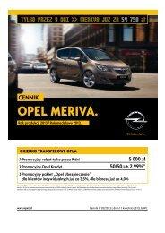 Opel Meriva cennik 2013 - Rok modelowy 2013 - Motor Centrum